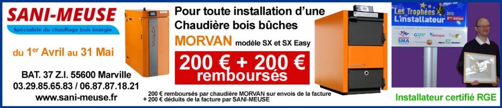 Offre spéciale sur Chaudières MORVAN 200€ + 200€ remboursés